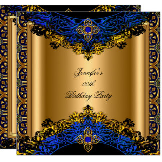 Elite Royal Blue Gold Black Birthday Party Card
