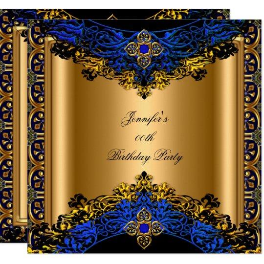 Elite Royal Blue Gold Black Birthday Party Invitation