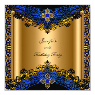 Elite Royal Blue Gold Black Birthday Party 5.25x5.25 Square Paper Invitation Card