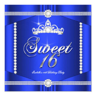 Elite Royal Blue Princess Sweet 16 Party Diamond Card