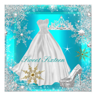 Elite Sweet 16 Sweet Sixteen Hot Teal White Gold 5.25x5.25 Square Paper Invitation Card