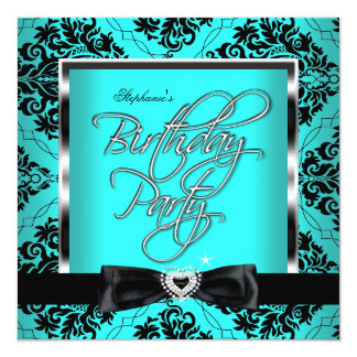 Elite Teal Blue Damask Silver Black Birthday Party Card