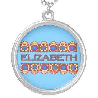Elizabeth Abstract art southwestern over lightblue Round Pendant Necklace