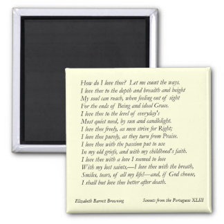 Elizabeth Barrett Browning - 42 2 Inch Square Magnet