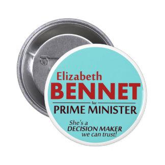 Elizabeth Bennet - primer ministro botón de la Pin Redondo De 2 Pulgadas
