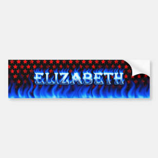 Elizabeth blue fire and flames bumper sticker desi