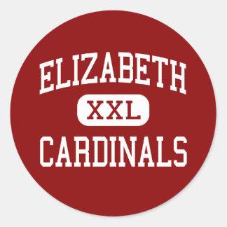 Elizabeth - cardenales - alta - Elizabeth Colorado Etiqueta Redonda