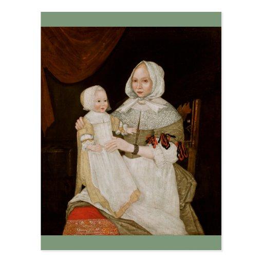 Elizabeth Clarke Freake and Baby Mary - Postcard