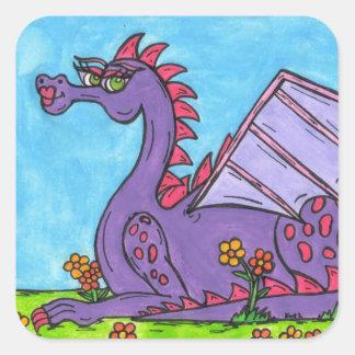 Elizabeth el dragón pegatina cuadrada