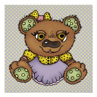 """Elizabeth el oso invitación 5.25"""" x 5.25"""""""