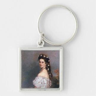 Elizabeth , Empress of Austria, 1865 Silver-Colored Square Keychain