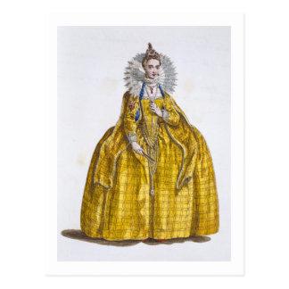 Elizabeth I (1530-1603) (coloured engraving) Postcard