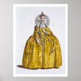 Elizabeth I (1530-1603) (coloured engraving) Poster