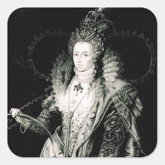 Elizabeth I drawn by W.Derby and engraved by Square Sticker