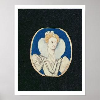 Elizabeth I, miniature portrait, (unfinished) Print