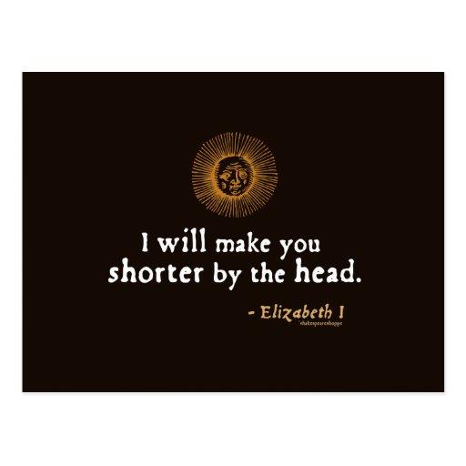 Elizabeth I Quote on Beheading Post Cards