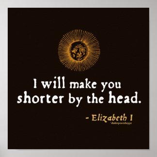 Elizabeth I Quote on Beheading Posters