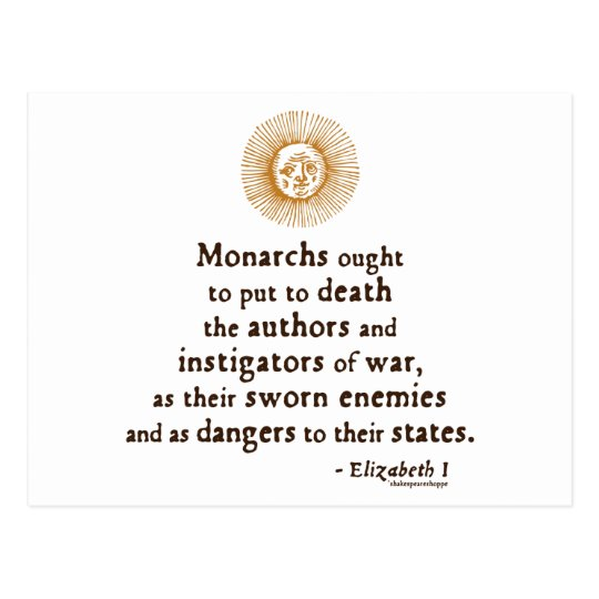 Elizabeth I Quote on War Postcard