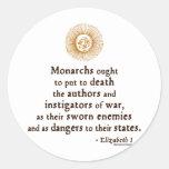 Elizabeth I Quote on War Round Stickers
