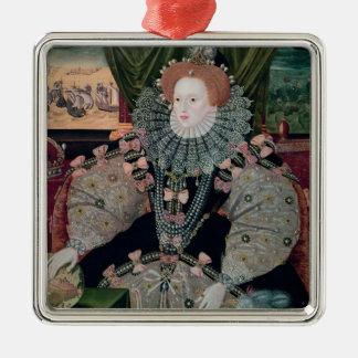 Elizabeth I, retrato de la armada, c.1588 Adorno Cuadrado Plateado