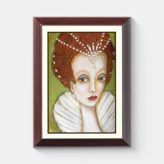 Elizabeth I Whimsical Painting Queen Framed Art Award Plaque