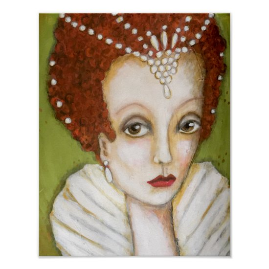 Elizabeth I Whimsical Painting Queen Green White Poster