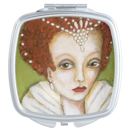 Elizabeth I Whimsical Painting Tudor Queen Green Compact Mirror