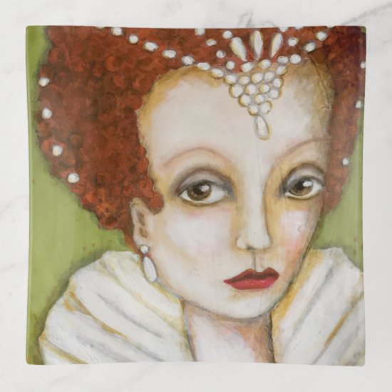 Elizabeth I Whimsical Painting Tudor Queen Green Trinket Trays