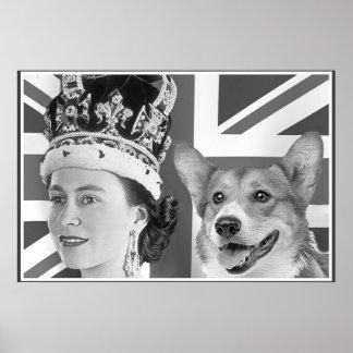 Elizabeth II joven y su Corgi Póster