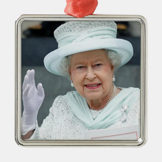 Elizabeth II, Queen of the United Kingdom Square Metal Christmas Ornament