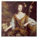 Elizabeth Jones, Countess of Kildare, c.1684 (oil Ceramic Tiles