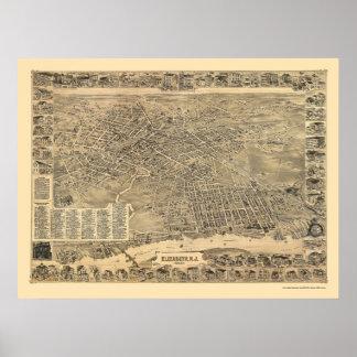 Elizabeth, mapa panorámico de NJ - 1898 Póster