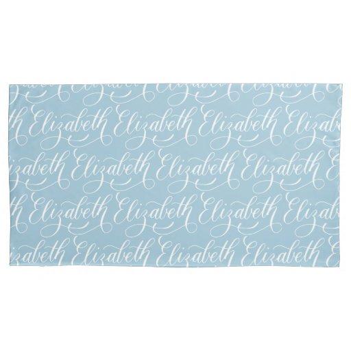 Elizabeth modern calligraphy name design pillowcase zazzle