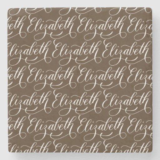 Elizabeth modern calligraphy name design stone coaster