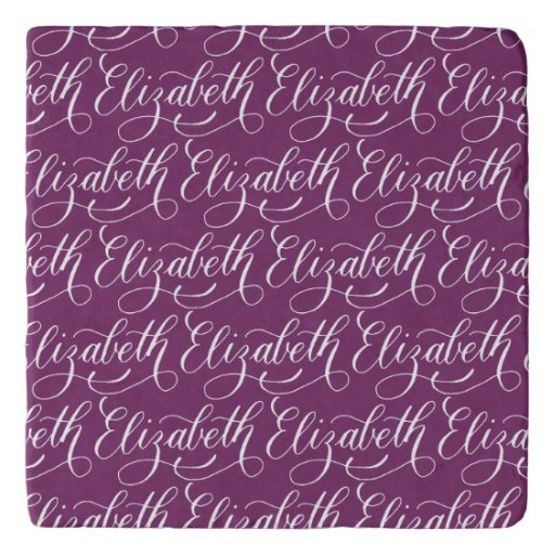 Elizabeth modern calligraphy name design trivet zazzle