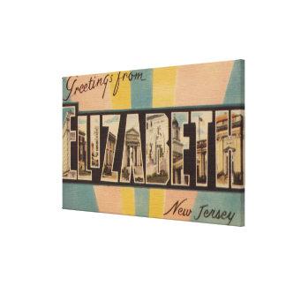 Elizabeth, New Jersey - Large Letter Scenes Canvas Print