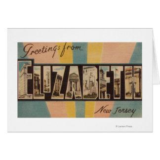 Elizabeth, New Jersey - Large Letter Scenes Card