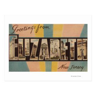 Elizabeth, New Jersey - Large Letter Scenes Postcard