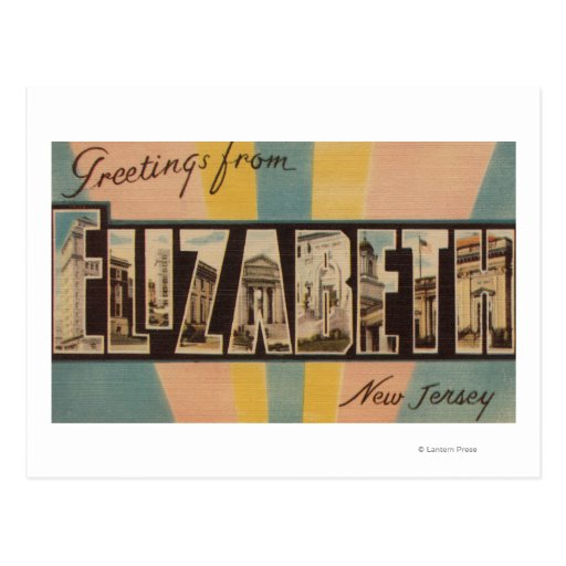 Elizabeth, New Jersey - Large Letter Scenes Post Card