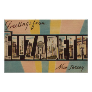 Elizabeth, New Jersey - Large Letter Scenes Posters
