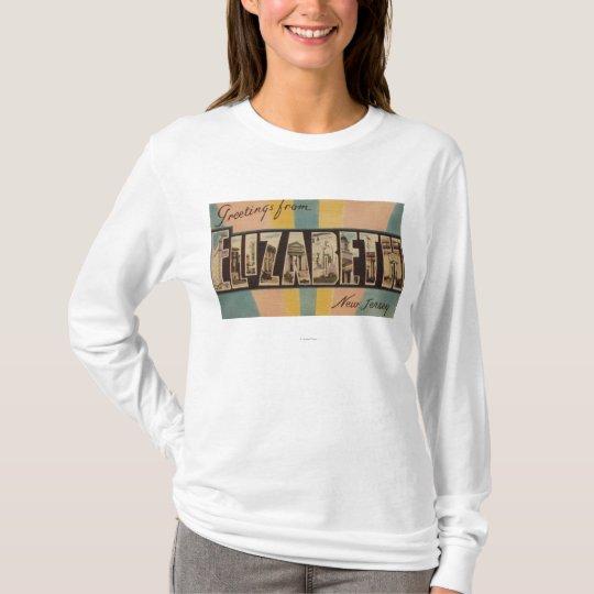 Elizabeth, New Jersey - Large Letter Scenes T-Shirt