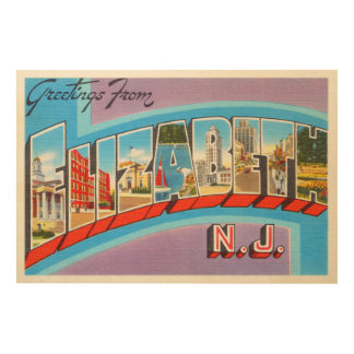 Elizabeth New Jersey NJ Vintage Travel Postcard- Wood Wall Decor