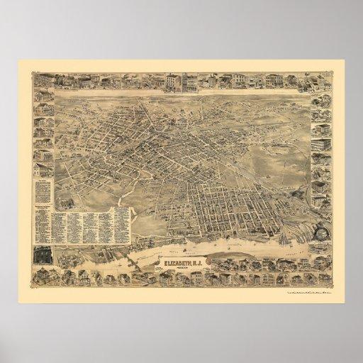Elizabeth, NJ Panoramic Map - 1898 Poster