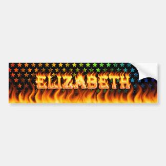 Elizabeth real fire and flames bumper sticker desi