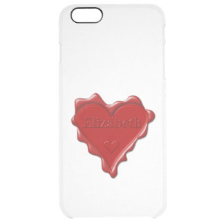 Elizabeth. Red heart wax seal with name Elizabeth Clear iPhone 6 Plus Case