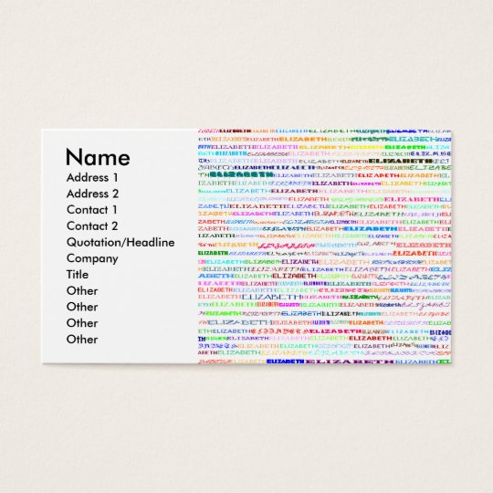 Elizabeth Text Design II Business Card