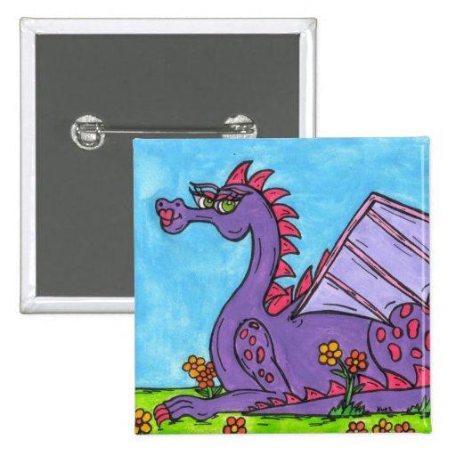 Elizabeth the Dragon 2 Inch Square Button