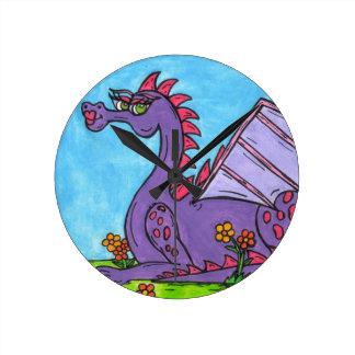 Elizabeth the Dragon Round Wall Clocks