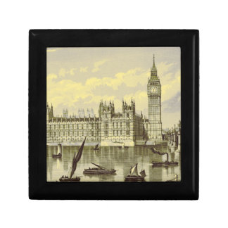 Elizabeth Tower Big Ben Thames London Vintage Keepsake Box