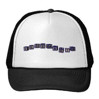Elizabeth toy blocks in blue trucker hat